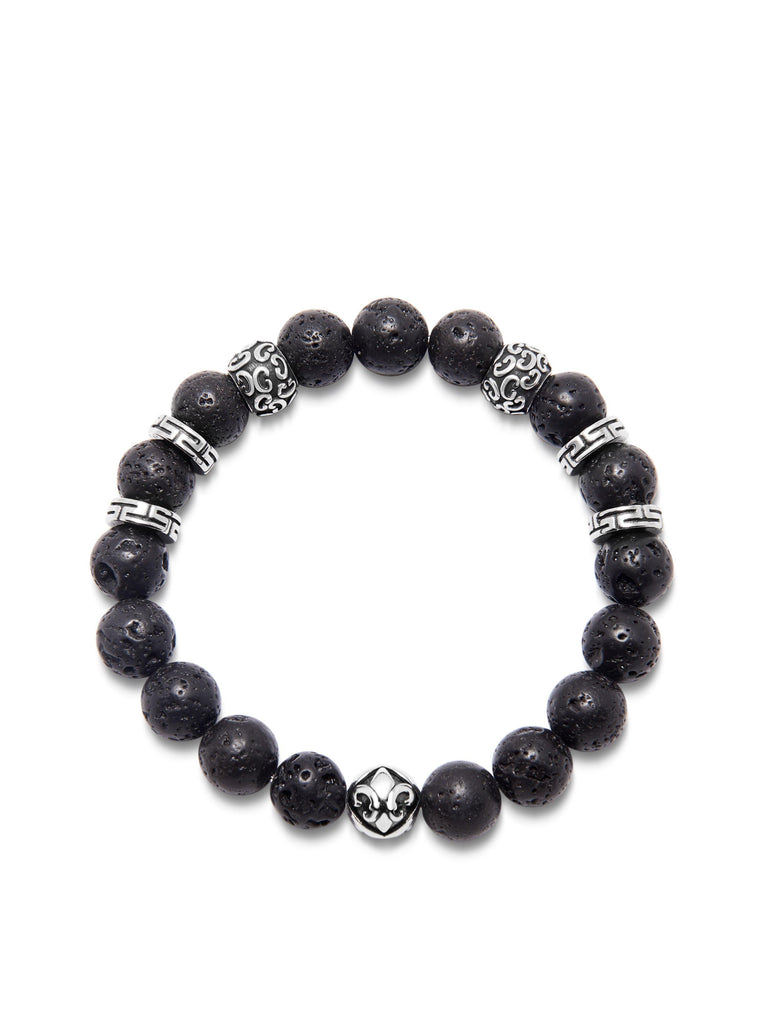 Men's Wristband with 10MM Lava Stone and Silver