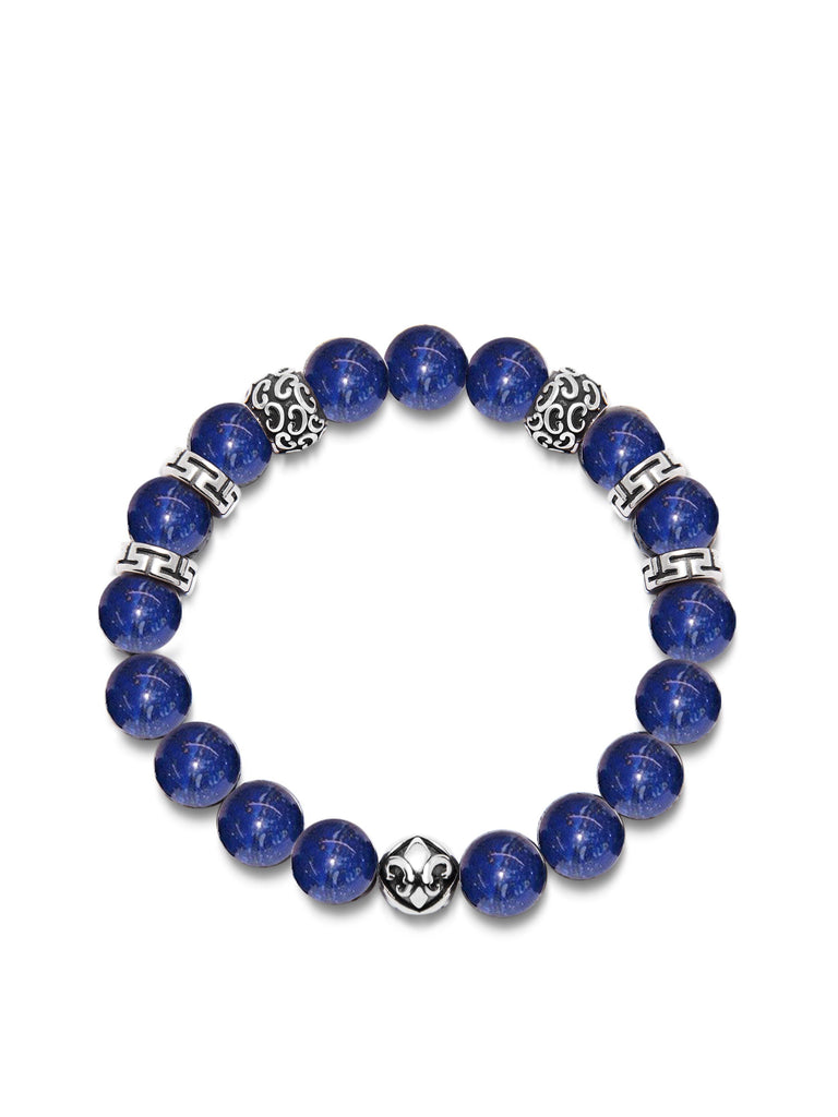 Men's Wristband with 10MM Blue Lapis and Silver