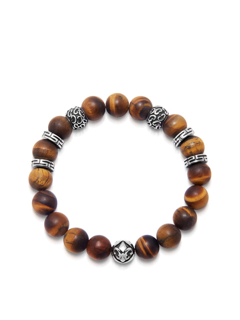 Men's Wristband with 10MM Matte Tiger Eye and Silver