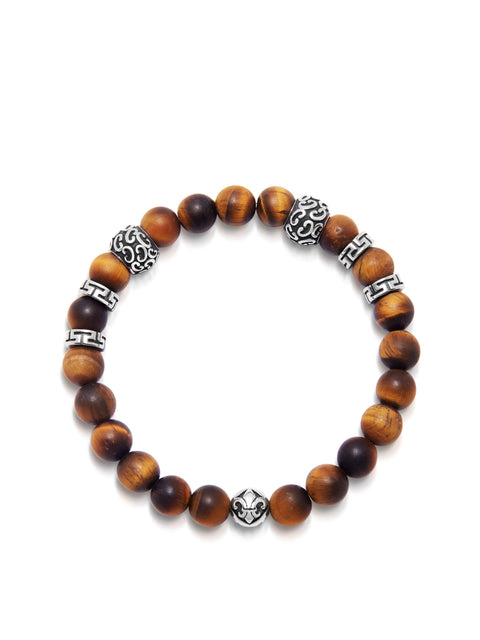 Men's Wristband with 8MM Matte Tiger Eye and Silver - Nialaya Jewelry