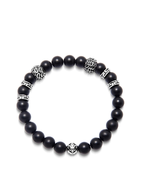 Men's Wristband with 8MM Matte Onyx and Silver - Nialaya Jewelry