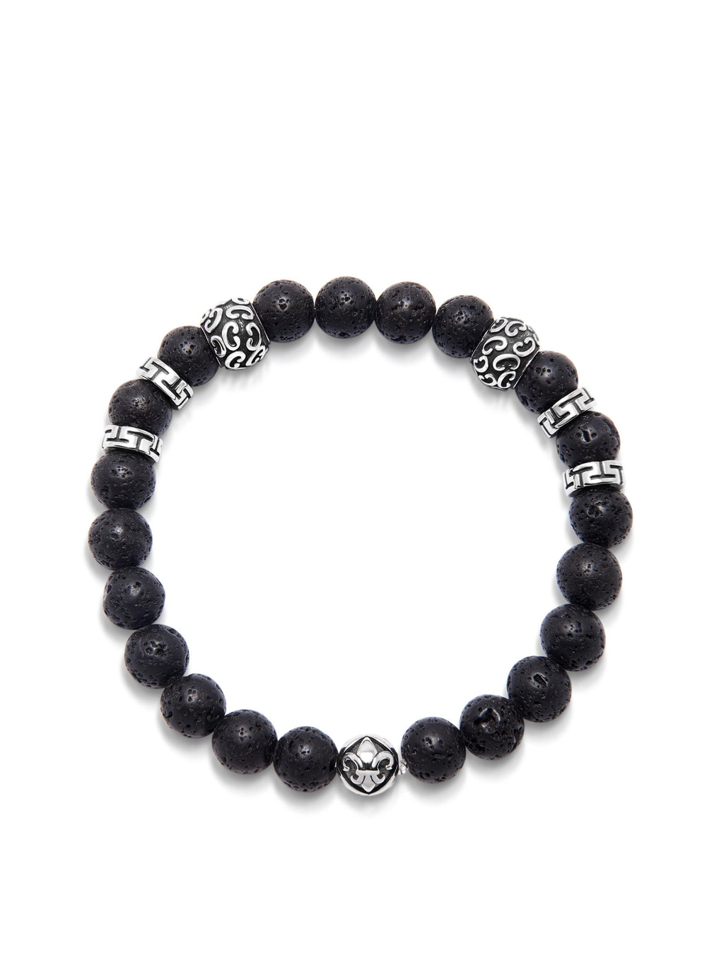 Men's Wristband with 8MM Lava Stone and Silver