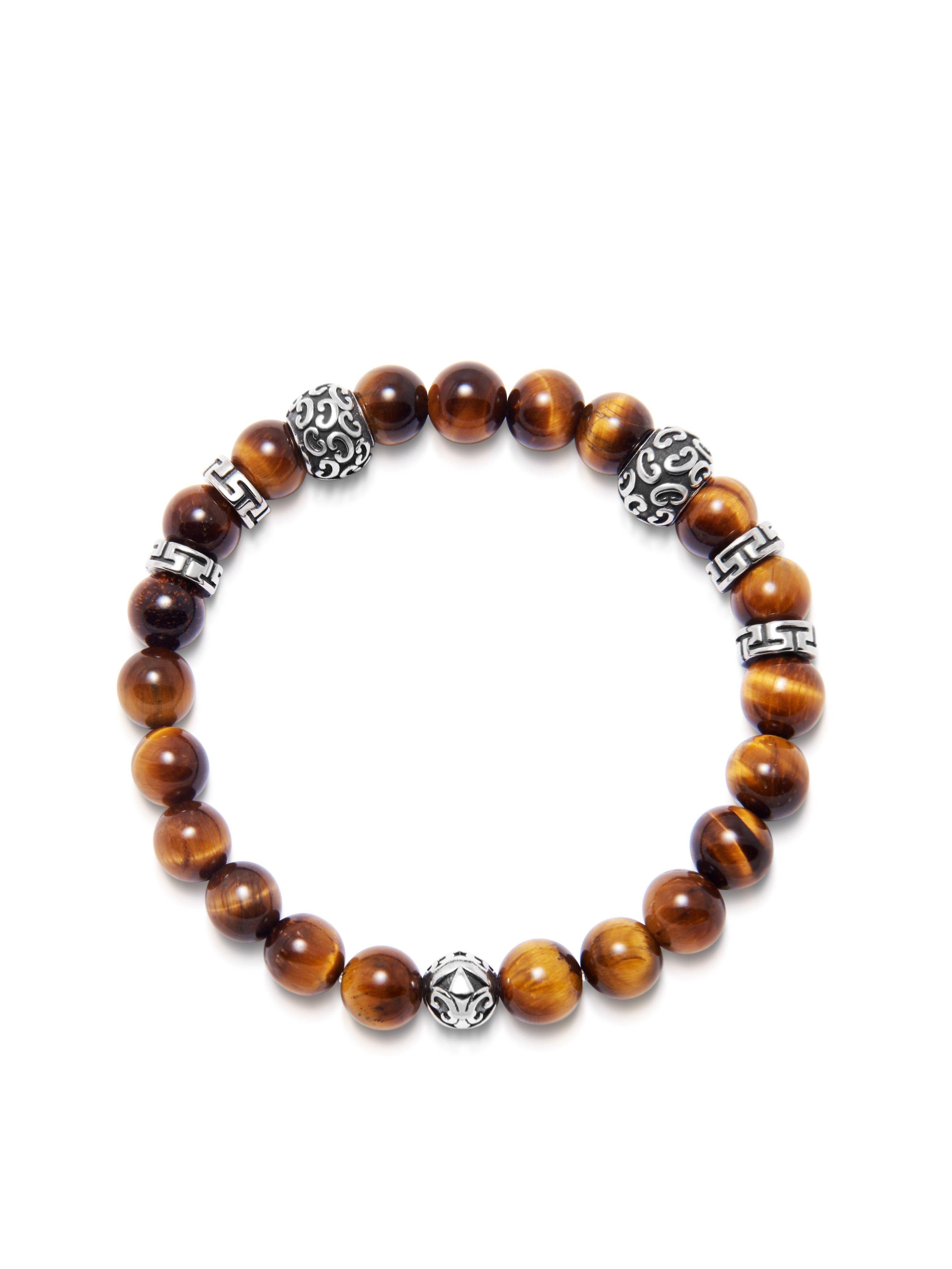 Men's Wristband with 8MM Tiger Eye and Silver