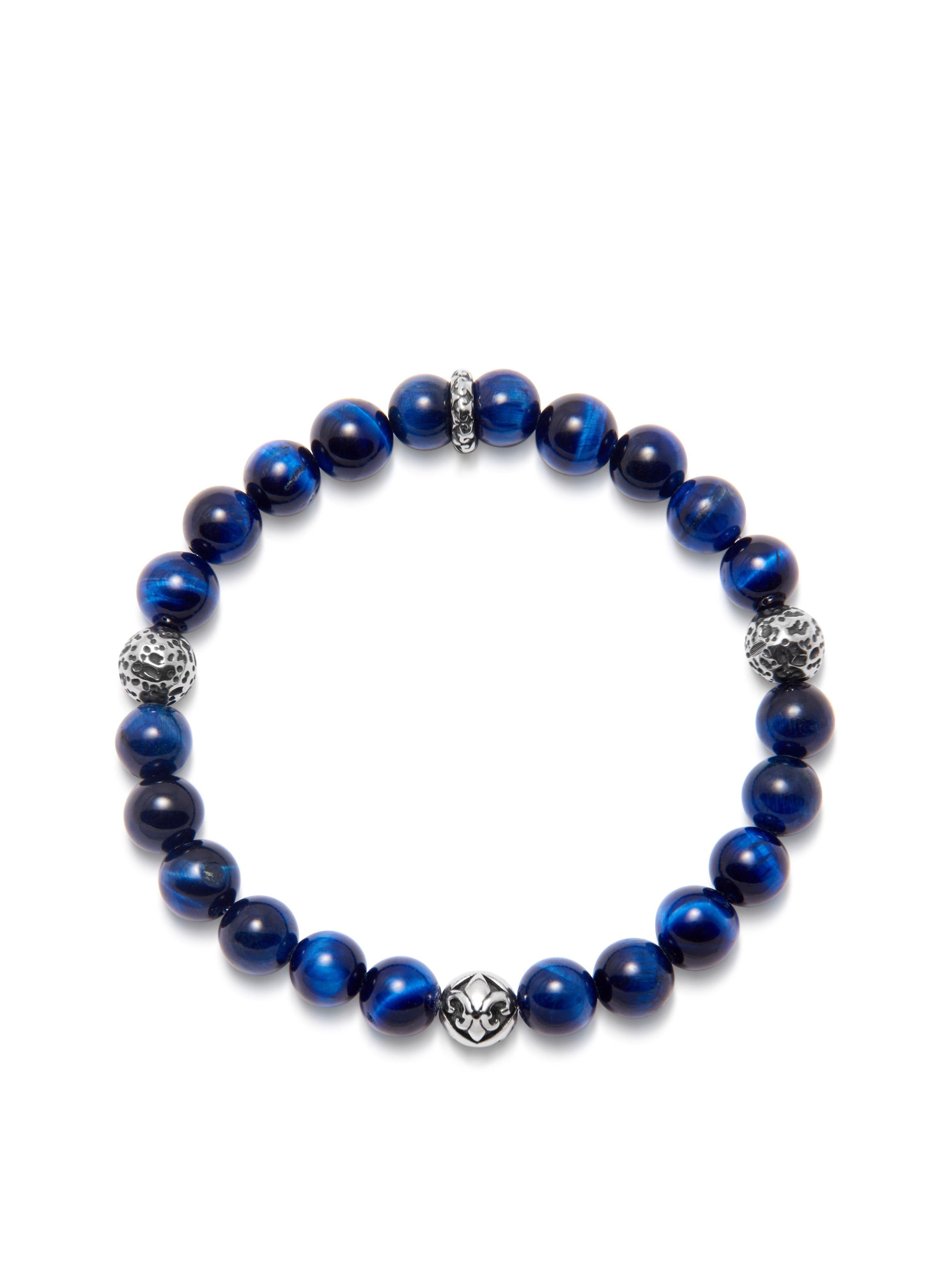 Men's Wristband with Blue Tiger Eye and Silver
