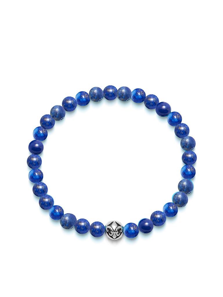 Men's Wristband with Blue Lapis and Silver