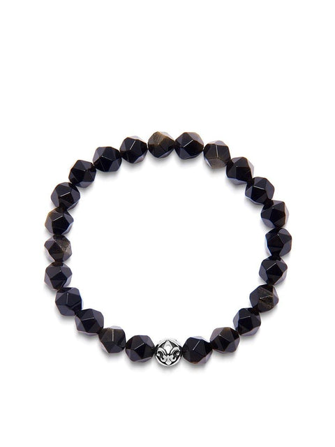 Men's Wristband with Faceted Gold Obsidian and Silver - Nialaya Jewelry