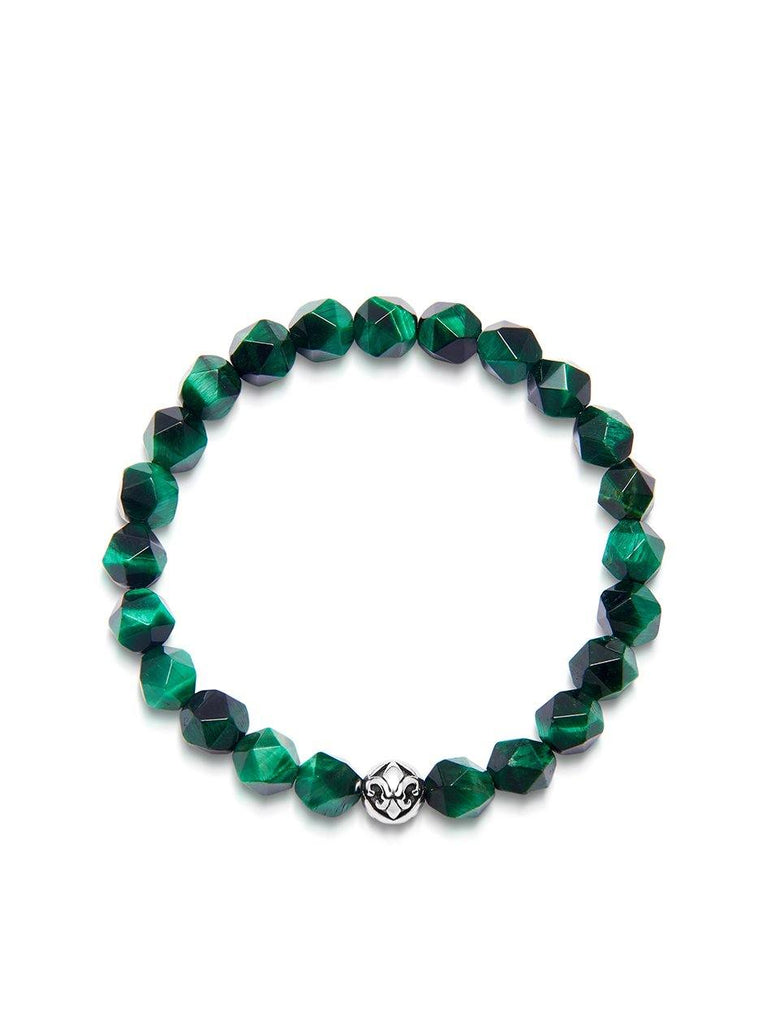 Men's Wristband with Faceted Green Tiger Eye and Silver