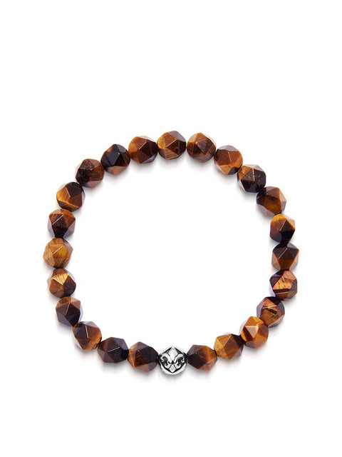 Men's Wristband with Faceted Brown Tiger Eye and Silver