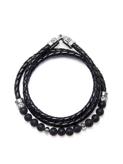 Men's Leather and Bead Wrap-Around Bracelet - Nialaya Jewelry