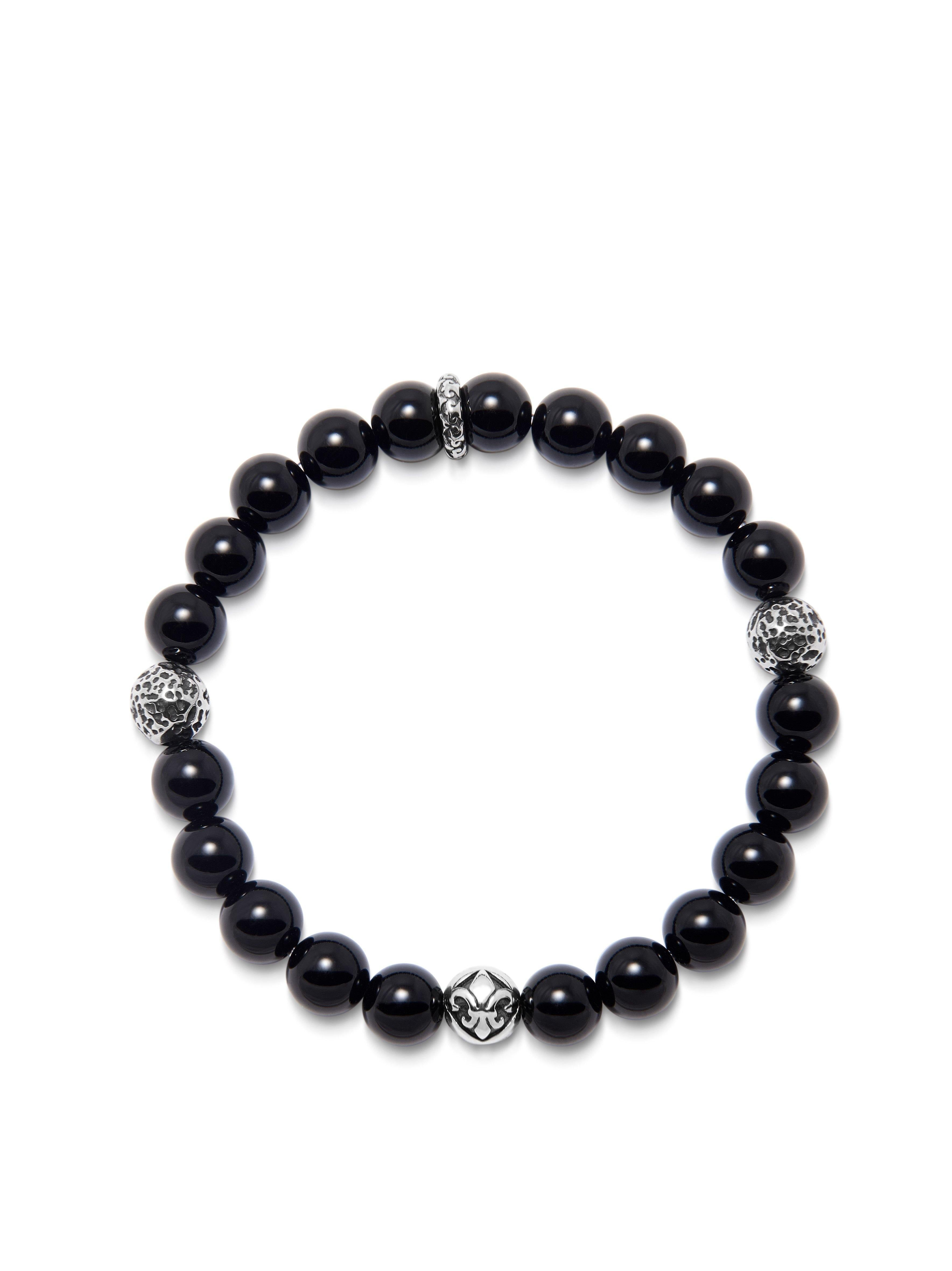 Men's Wristband with Black Agate and Silver
