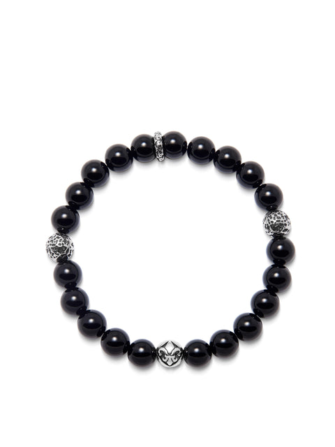 Men's Wristband with 8MM Black Agate and Silver