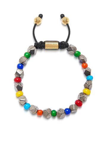 Men's Beaded Bracelet with Faceted Iron Pyrite and Multi-Color Glass Beads