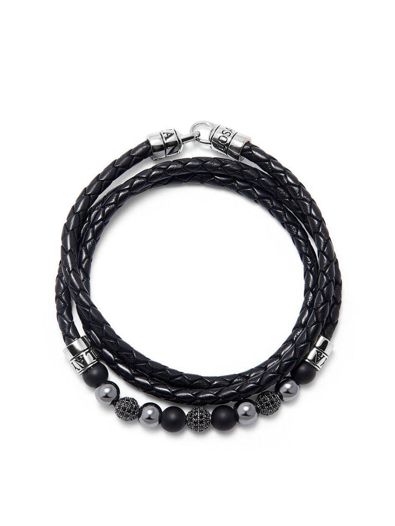 Men's Leather and Bead Wrap-Around Bracelet