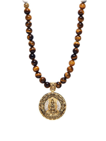 Men's Beaded Necklace with Brown Tiger Eye and Buddha Amulet