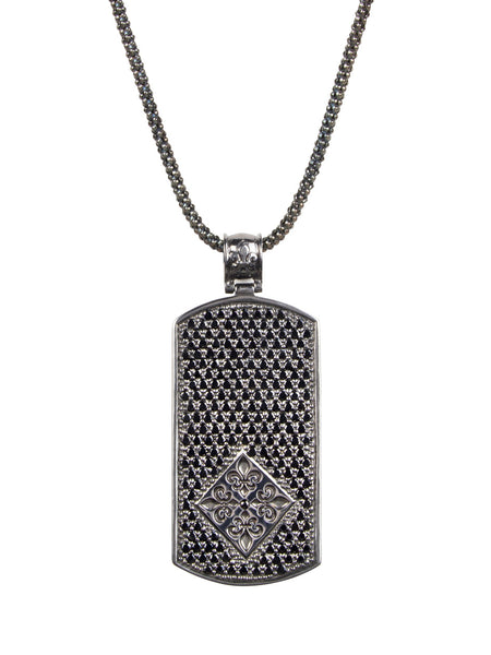 Box Chain W. Black Ruthenium Dog Tag & CZ Diamond Pendant - Nialaya Jewelry  - 1