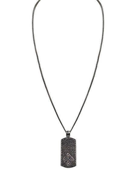 Box Chain W. Black Ruthenium Dog Tag & CZ Diamond Pendant - Nialaya Jewelry  - 2