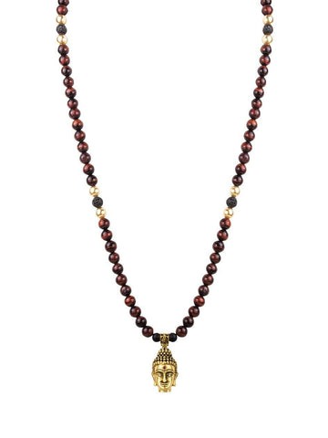 Men's Beaded Necklace with Red Tiger Eye and Gold Buddha Pendant - Nialaya Jewelry  - 2