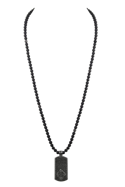 Men's Beaded Necklace with Matte Onyx and Black Dog Tag Pendant - Nialaya Jewelry  - 3
