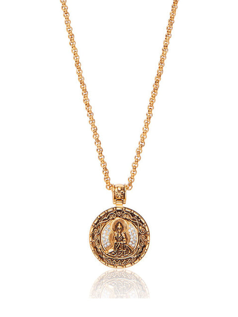 PRE-ORDER: Men's Necklace with Gold Buddha Amulet - NIALAYA INC