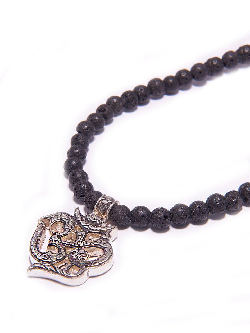 Mens beaded necklace with lava stone and om pendant nialaya jewelry mens beaded necklace with lava stone and om pendant aloadofball Image collections