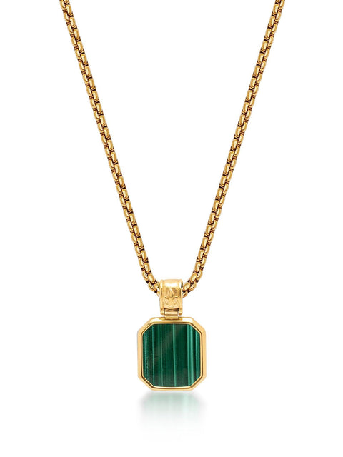 Men's Gold Necklace with Square Malachite Pendant - Nialaya Jewelry