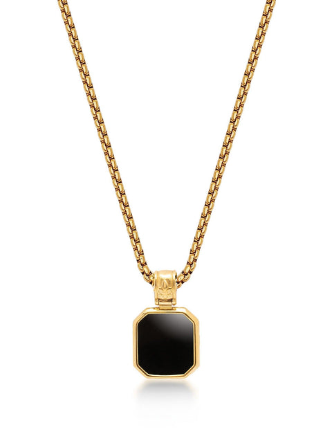 Men's Gold Necklace with Square Matte Onyx Pendant