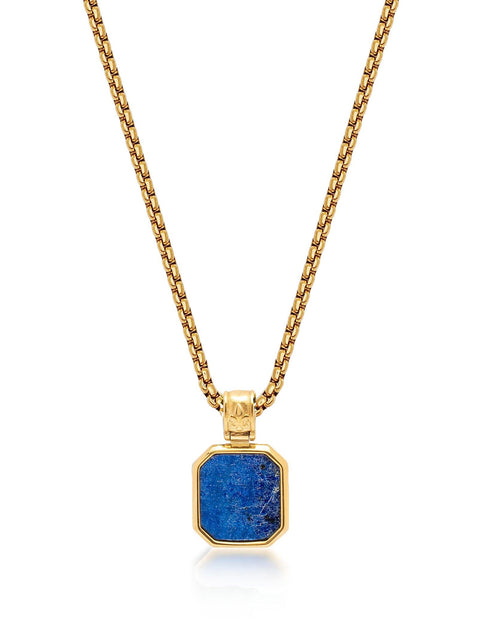 Men's Gold Necklace with Square Blue Lapis Pendant - Nialaya Jewelry