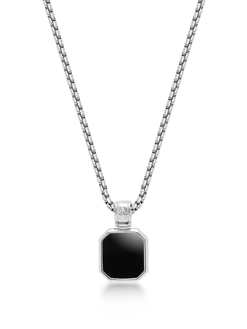 Men's Silver Necklace with Square Matte Onyx Pendant - Nialaya Jewelry