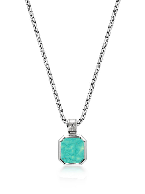 Men's Silver Necklace with Square Turquoise Pendant - Nialaya Jewelry
