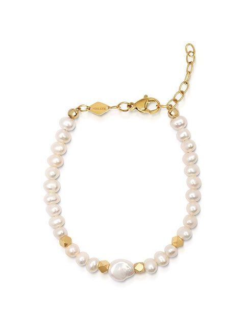 Women's Mini Beaded Bracelet with Pearl and Gold - Nialaya Jewelry