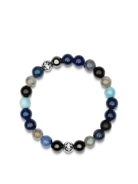 Men's Wristband with Blue Lapis, Turquoise, Dumortierite, Agate, Labradorite, Hematite and Silver - Nialaya Jewelry