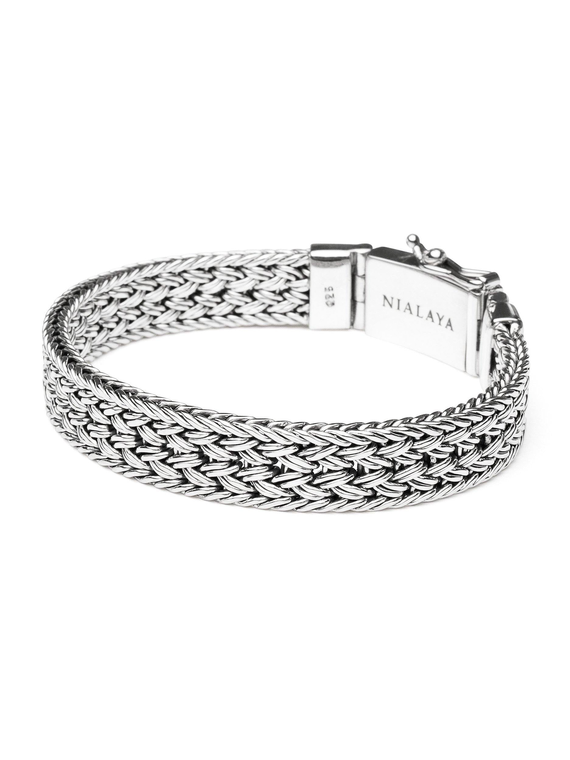 Men's Silver Braided Chain Bracelet - Nialaya Jewelry