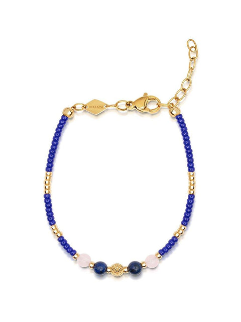 Women's Blue Mini Beaded Bracelet with Rose Quartz and Gold - Nialaya Jewelry