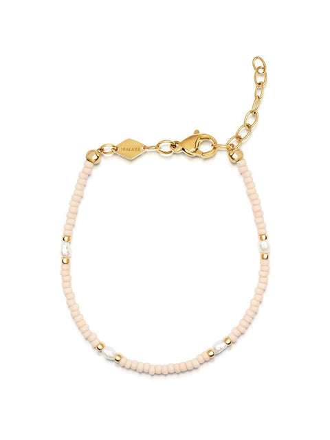 Women's Pale Pink Mini Beaded Bracelet with Pearl - Nialaya Jewelry
