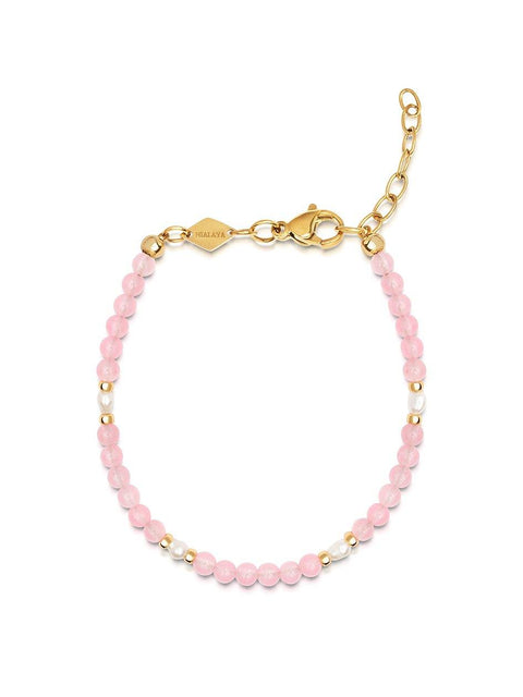 Women's Pink Mini Beaded Bracelet with Pearls - Nialaya Jewelry