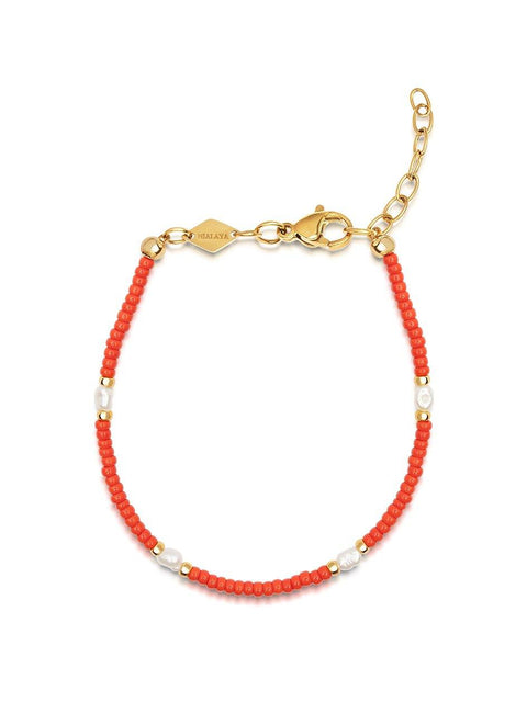 Women's Red Mini Beaded Bracelet with Pearl - Nialaya Jewelry