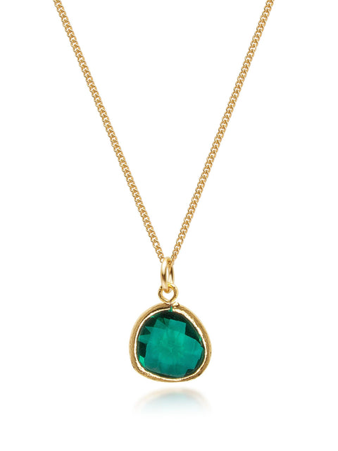 NIALAYA X JOHNNY EDLIND: Unisex Gold Necklace with Green Mini Pendant - NIALAYA INC