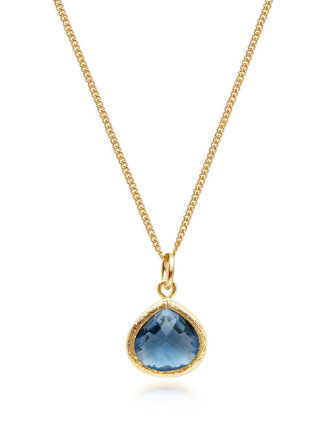 PRE-ORDER: NIALAYA X JOHNNY EDLIND: Unisex Gold Necklace with Blue Mini Pendant - NIALAYA INC