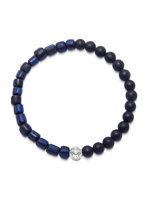 Men's Wristband with Matte Onyx and Blue African Vintage Glass Beads