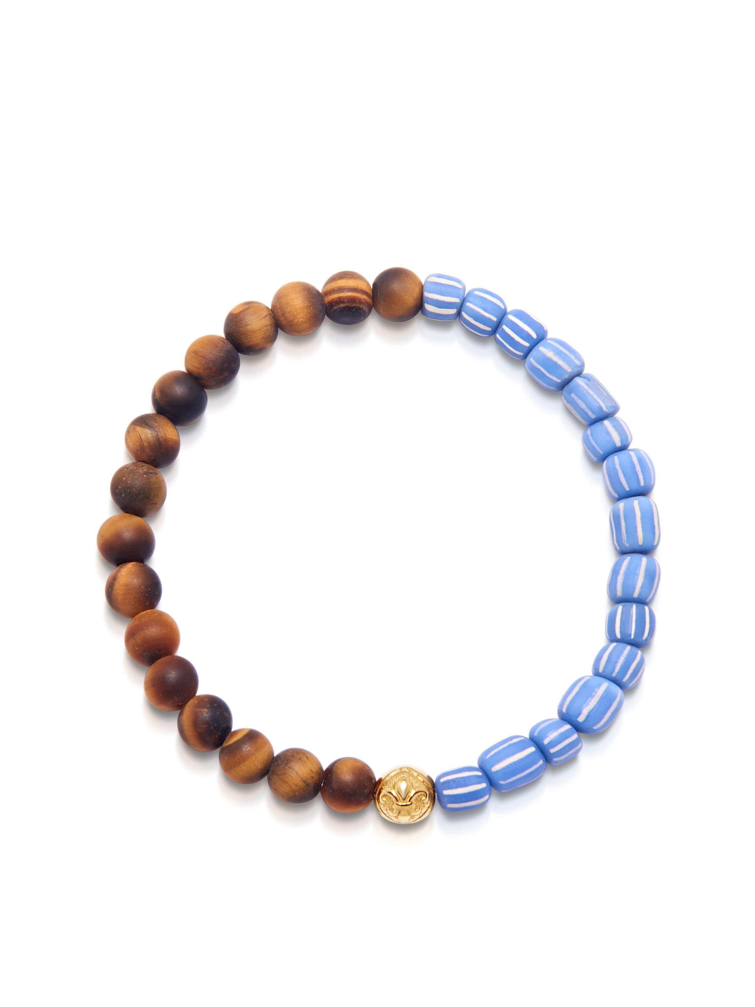 Men's Wristband with Brown Tiger Eye and Light Blue African Vintage Glass Beads