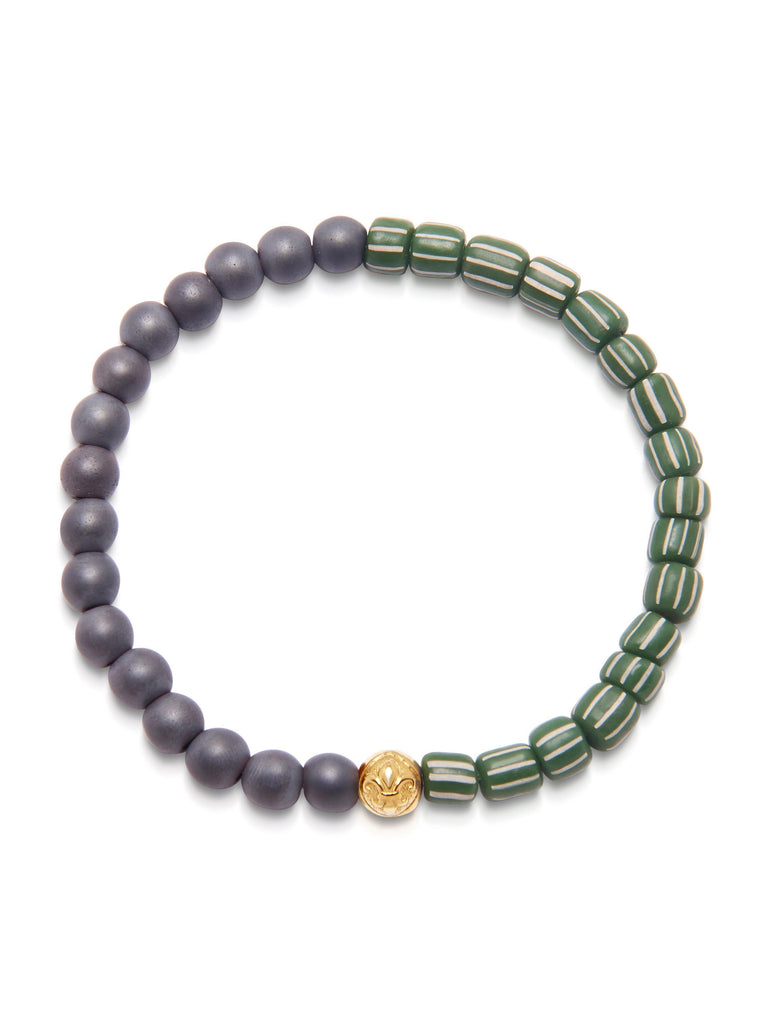 Men's Wristband with Matte Hematite and Green African Vintage Glass Beads