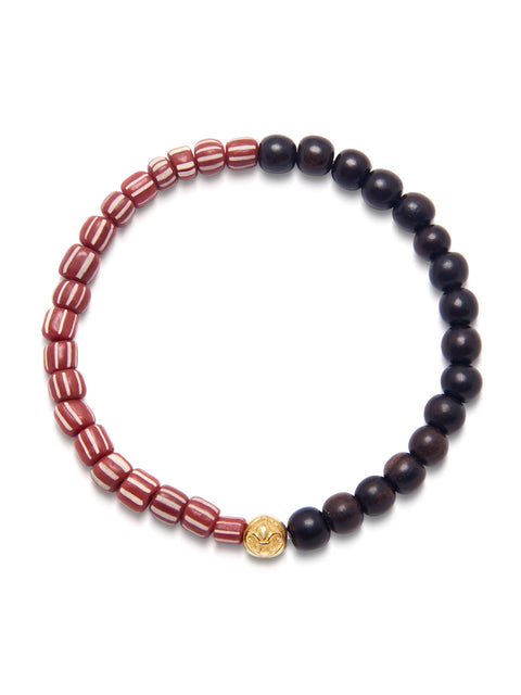 Men's Wristband with Ebony and Red African Vintage Glass Beads