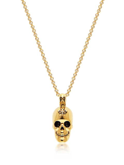 Men's Necklace with Gold Skull - Nialaya Jewelry