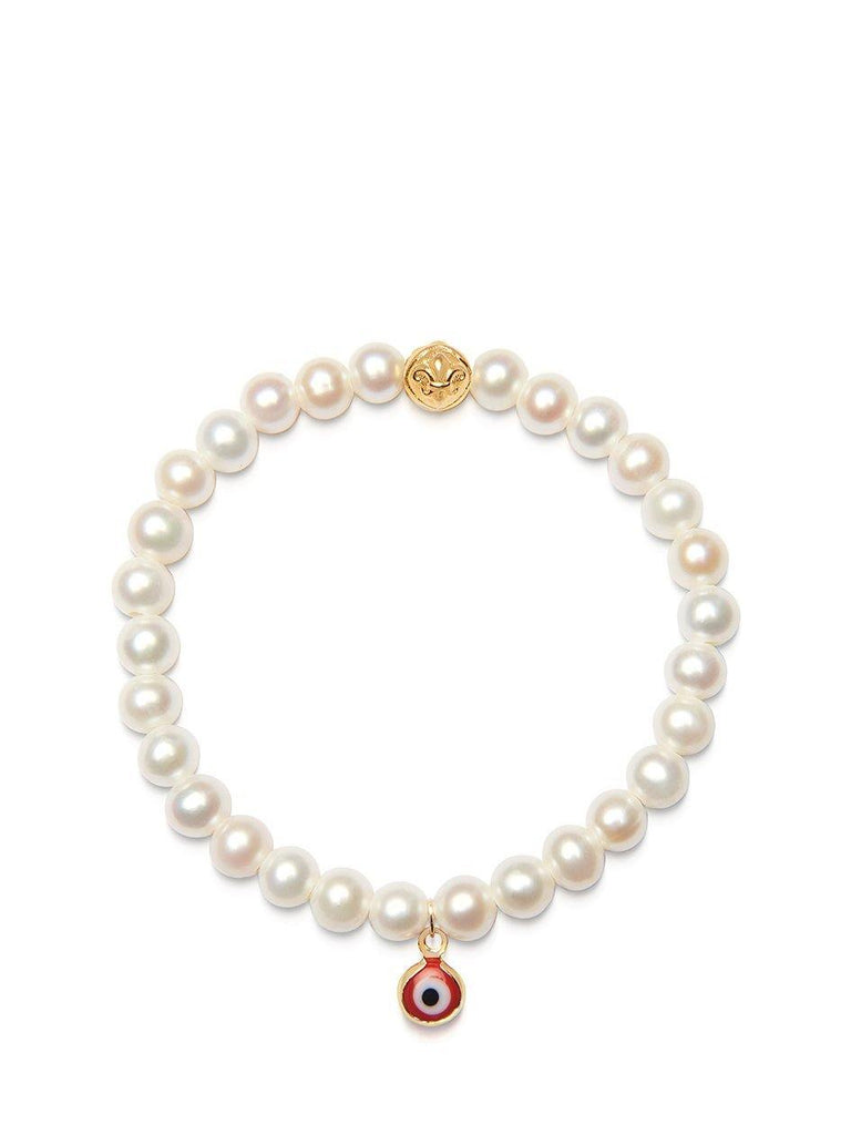 Women's Wristband with White Pearls and Red Evil Eye Charm