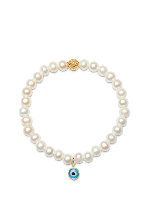 Women's Wristband with White Pearls and Blue Evil Eye Charm - Nialaya Jewelry