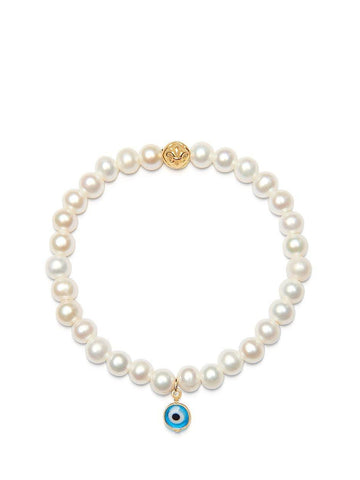 Women's Wristband with White Pearls and Blue Evil Eye Charm