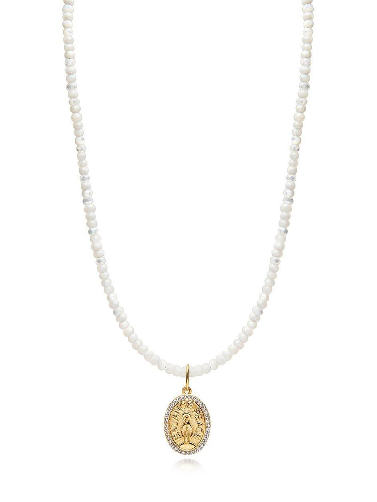 Mother Of Pearl Necklace with Gold Jesus Pendant