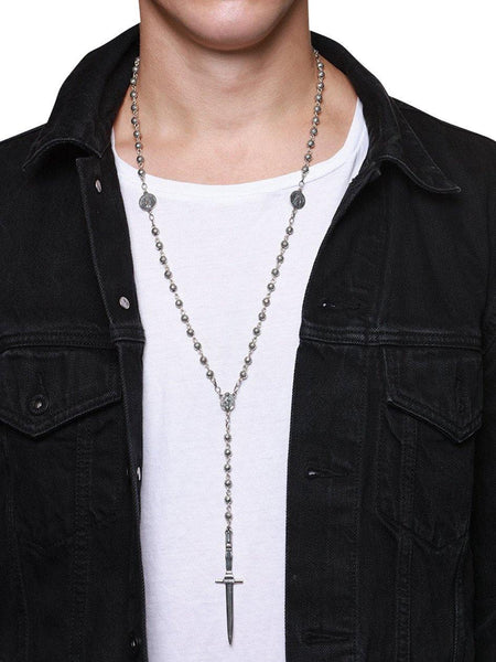 Men's Silver Rosary Necklace - Nialaya Jewelry  - 2