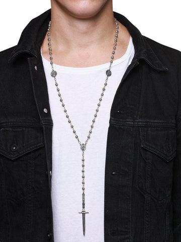 Men's Silver Rosary Necklace - Nialaya Jewelry  - 3