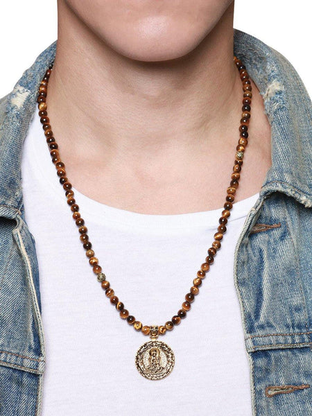 Men's Beaded Necklace with Brown Tiger Eye and Buddha Amulet - Nialaya Jewelry  - 2